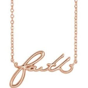 Jewelry - 14K Gold Faith Script Font Necklace